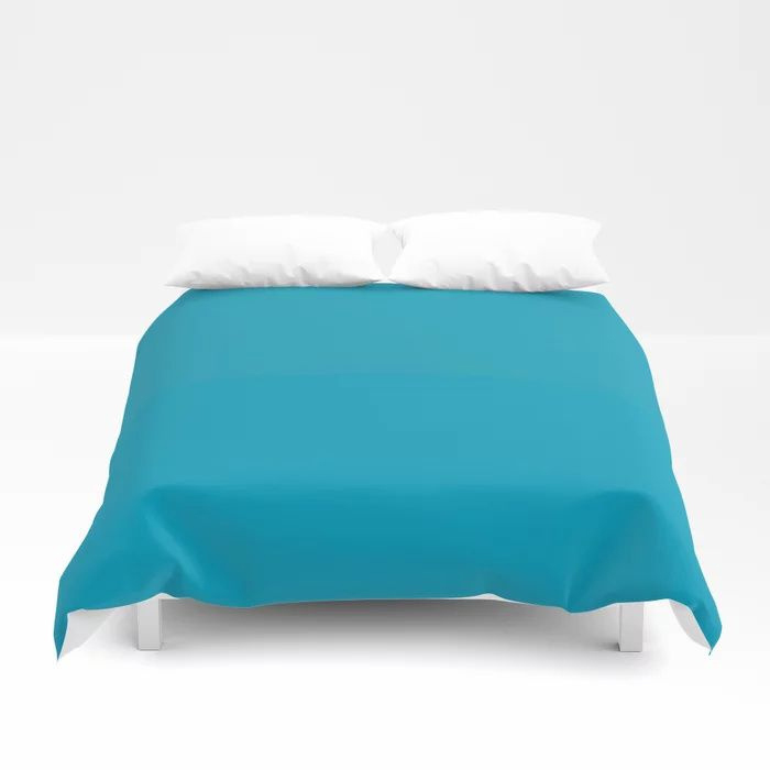 Teal Turquoise Blue Green Solid Color Pairs to Coloro 2021 Trending Color AI Aqua 098-59-30 Duvet Cover