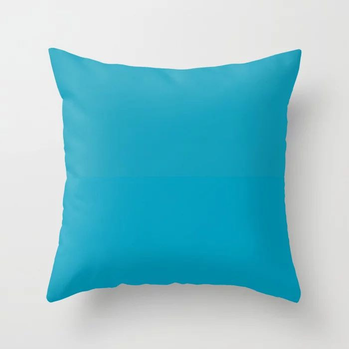 Teal Turquoise Blue Green Solid Color Pairs to Coloro 2021 Trending Color AI Aqua 098-59-30 Throw Pillow