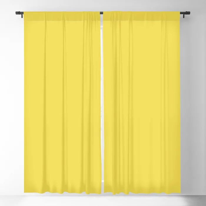 Vivid Yellow Solid Color Pairs Pantone 2021 Color of the Year Illuminating 13-0647 Blackout Curtain