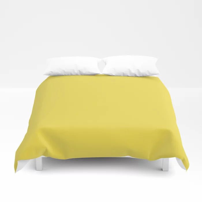 Vivid Yellow Solid Color Pairs Pantone 2021 Color of the Year Illuminating 13-0647 Duvet Cover