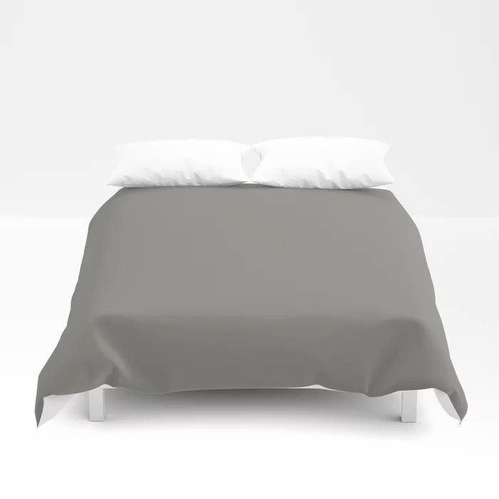 Weathered Wood Grey Solid Color Behr's 2021 Trending Color Barnwood Gray PPU24-07 Duvet Cover