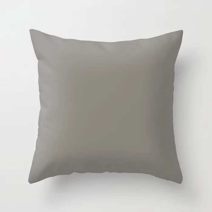 Weathered Wood Grey Solid Color Behr's 2021 Trending Color Barnwood Gray PPU24-07 Throw Pillow