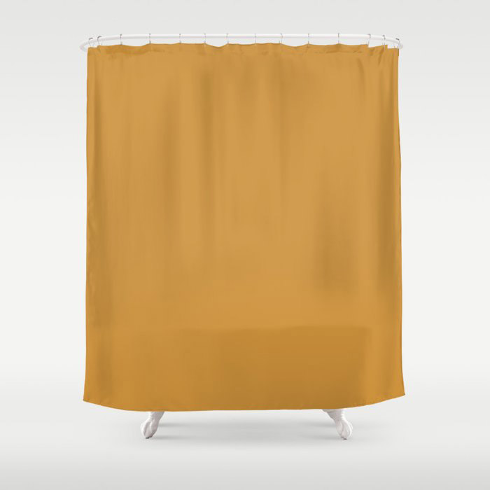 Cosy Deep Mustard Yellow Solid Color Pairs Farrow and Balls 2021 Color of the Year India Yellow 66 Shower Curtain