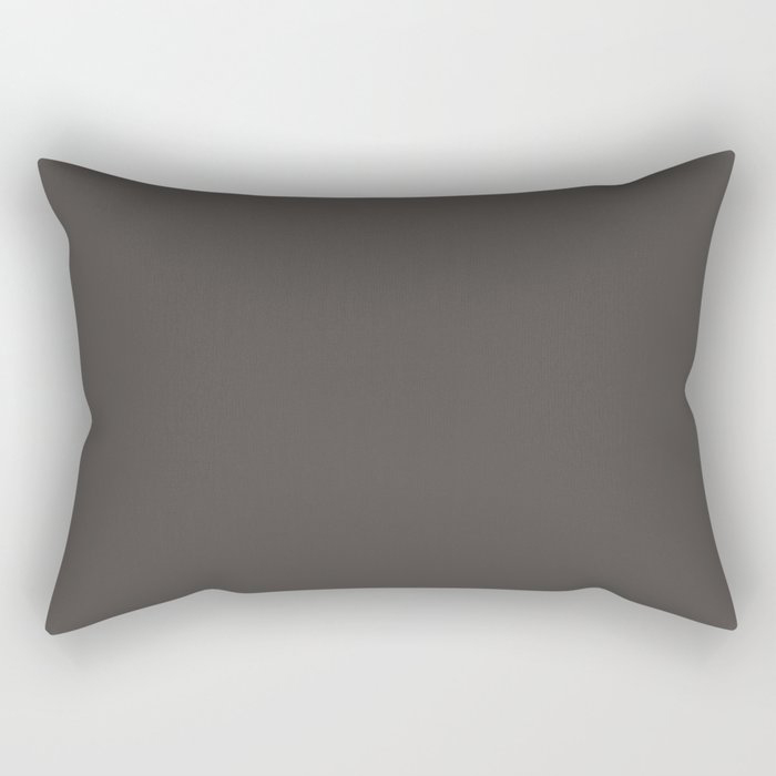 Dark Gray Brown Solid Color Pairs To Farrow and Ball Color of The Year Tanner's Brown No.255 Rectangular Pillow