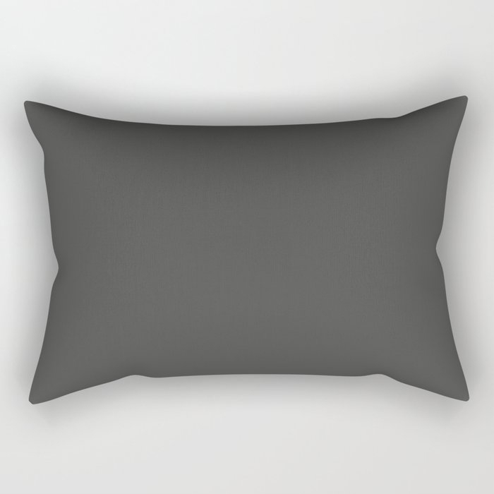 Dark Grey Solid Color Behr's 2021 Trending Color Broadway PPU18-20 Rectangular Pillow