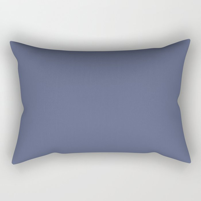 Dark Night Blue Solid Color Pairs Farrow and Ball 2021 Color of the Year Pitch Blue No.220 Rectangular Pillow