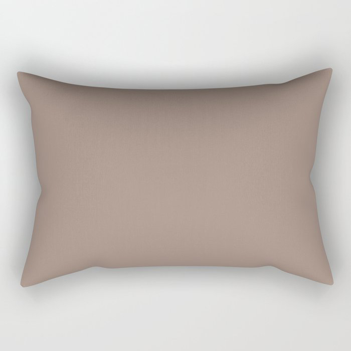 Dark Taupe Brown Solid Color Pairs To Behr's 2021 Trending Color Modern Mocha N150-4 Rectangular Pillow