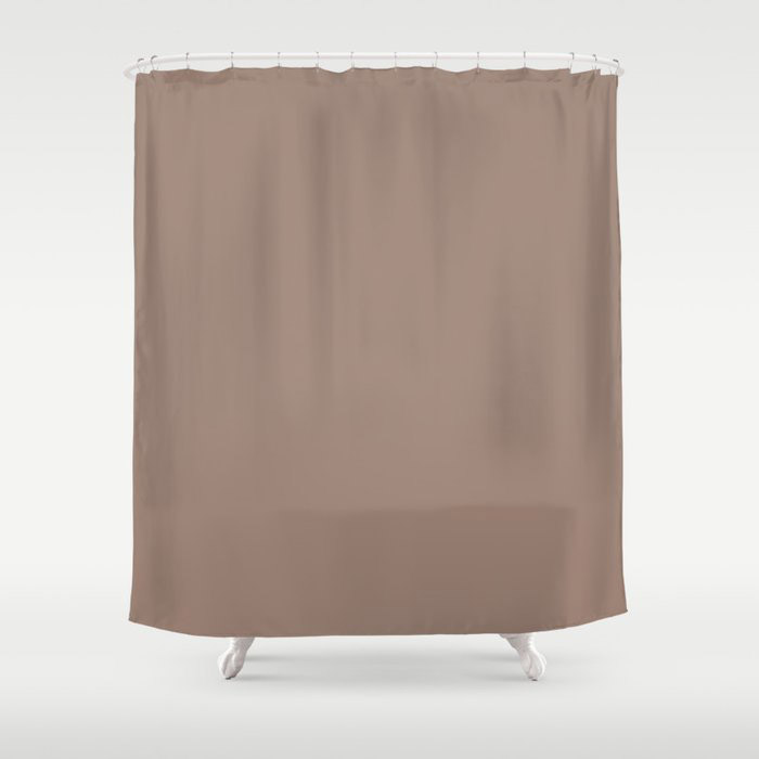 Dark Taupe Brown Solid Color Pairs To Behr's 2021 Trending Color Modern Mocha N150-4 Shower Curtain