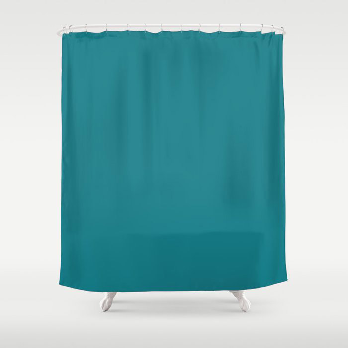 Dark Turquoise Solid Color Pairs To Behr's 2021 Trending Color Caribe PPU13-01 Shower Curtain