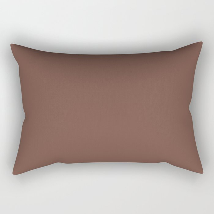 Dark Wine Solid Color Pairs Farrow and Ball 2021 Color of the Year Deep Reddish Brown No.W101 Rectangular Pillow