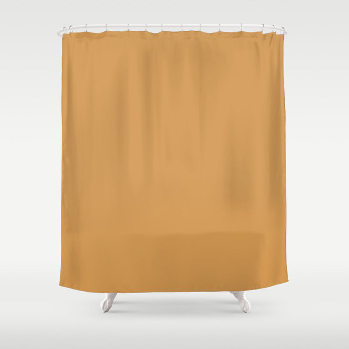 Golden Yellow Sunset Solid Color Pairs To Behr's 2021 Trending Color Saffron Strands PPU6-02 Shower Curtain