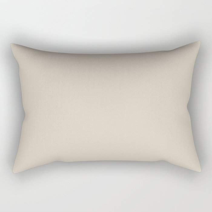 Light Beige Solid Color Jolie 2021 Color of the Year Uptown Ecru Rectangular Pillow