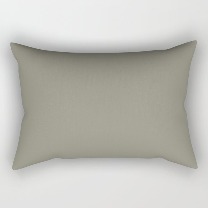 Pigeon Gray Green Solid Color Pairs Farrow and Ball 2021 Color of the Year Treron 292 Rectangular Pillow