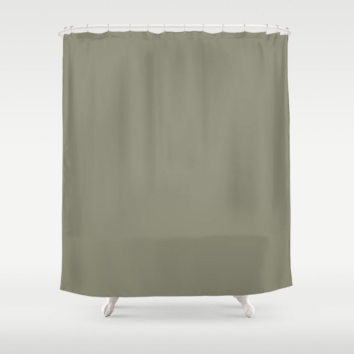 Pigeon Gray Green Solid Color Pairs Farrow and Ball 2021 Color of the Year Treron 292 Shower Curtain