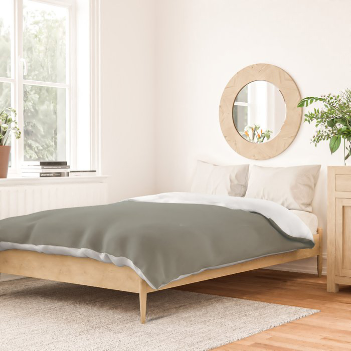 Rich and Moody Green Solid Color Pairs To Pratt & Lambert 2021 Color of the Year Contemplative 420F Duvet Cover