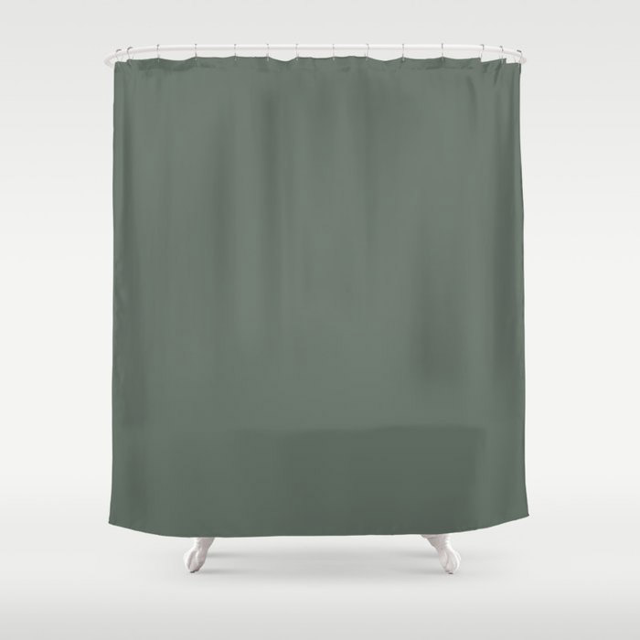 Rustic Forest Green Solid Color Pairs Farrow and Ball 2021 Color of the Year Green Smoke 47 Shower Curtain