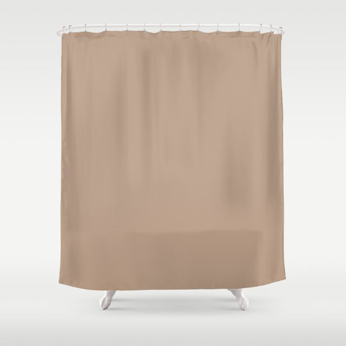 Soft Mid-Tone Beige Solid Color Pairs To Behr's 2021 Trending Color Sierra N240-4 Shower Curtain