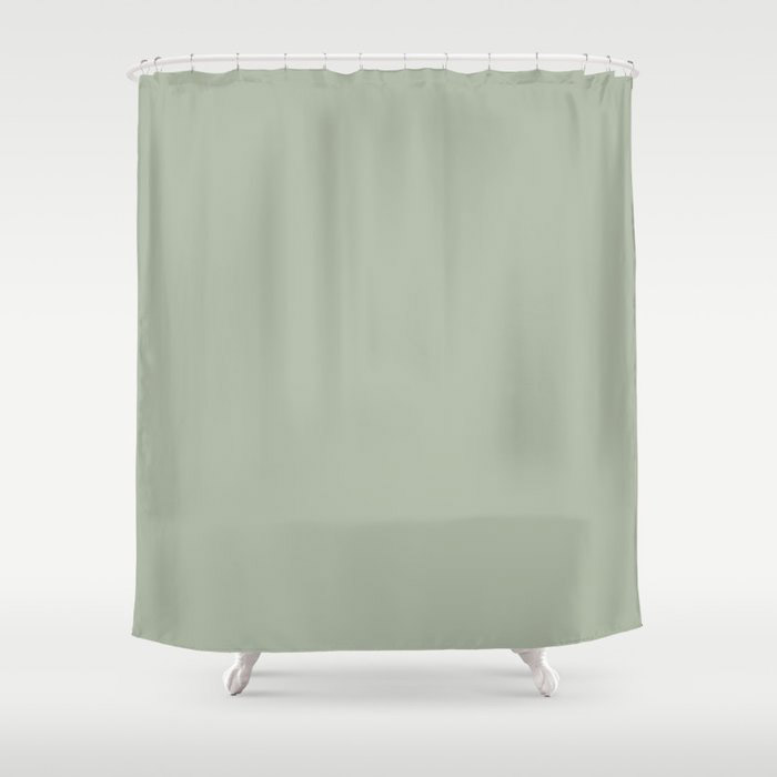 Soft Pastel Sage Green Gray Solid Color Pairs To Behr's 2021 Trending Color Jojoba N390-3 Shower Curtain