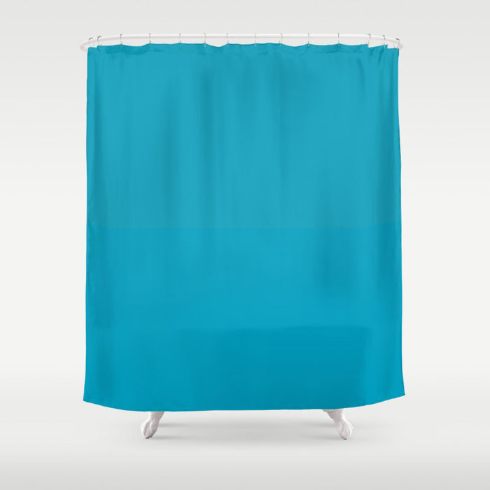 Teal Turquoise Blue Green Solid Color Pairs to Coloro 2021 Trending Color AI Aqua 098-59-30 Shower Curtain