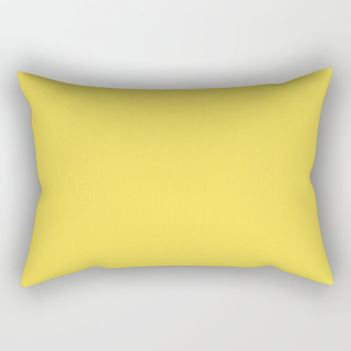 Vivid Yellow Solid Color Pairs Pantone 2021 Color of the Year Illuminating 13-0647 Rectangular Pillow