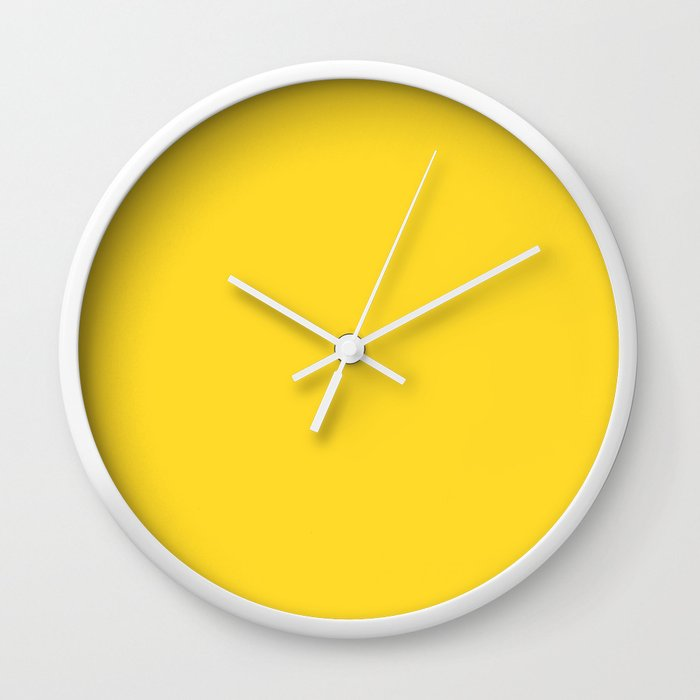 Solid Color Pantone Vibrant Yellow 13-0858 Wall Clock
