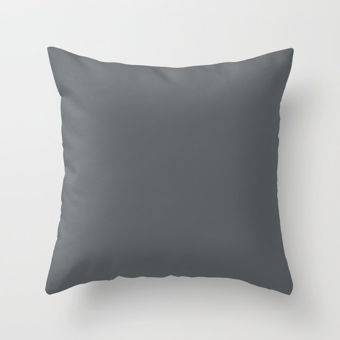 Best Seller Dark Lead Gray Solid Color Pairs w Behr Paint's Graphic Charcoal Throw Pillow