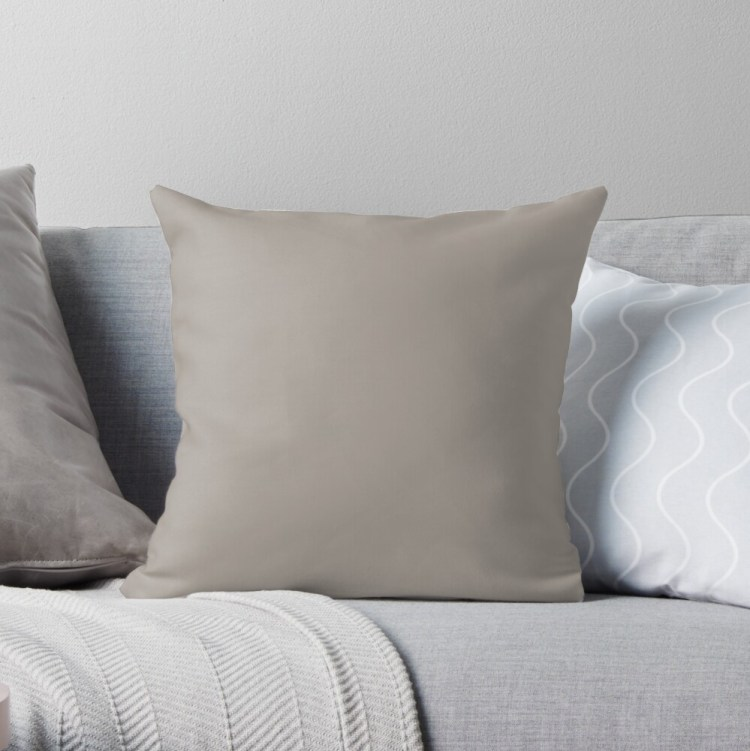 Brown Taupe Solid Color Pairs with Sherwin Williams Heart 2020 Forecast Color - Angora SW6036 Throw Pillow