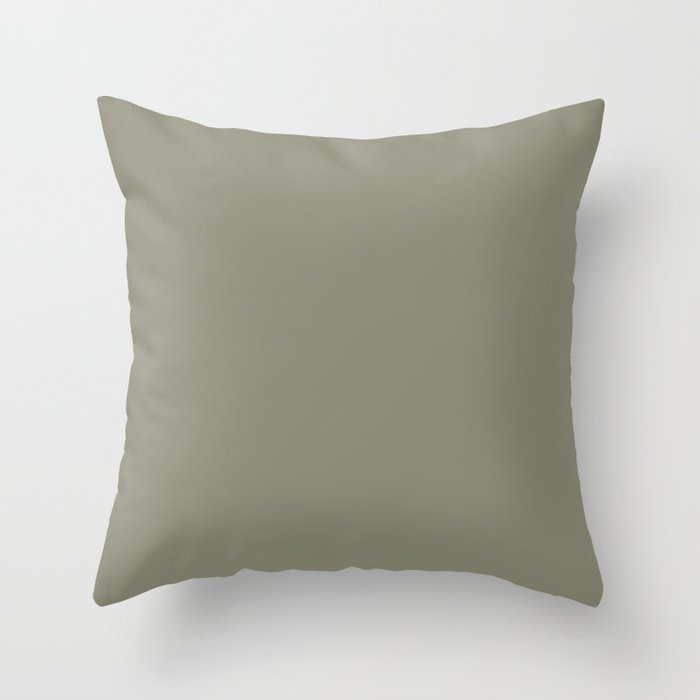 Pigeon Gray Green Solid Color Pairs Farrow and Ball 2021 Color of the Year Treron 292 Throw Pillow