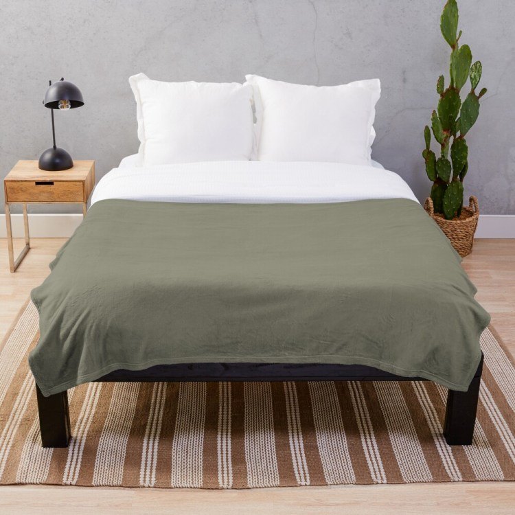 Pigeon Gray Green Solid Color Throw Blanket Pairs Farrow and Ball 2021 Color of the Year Treron 292