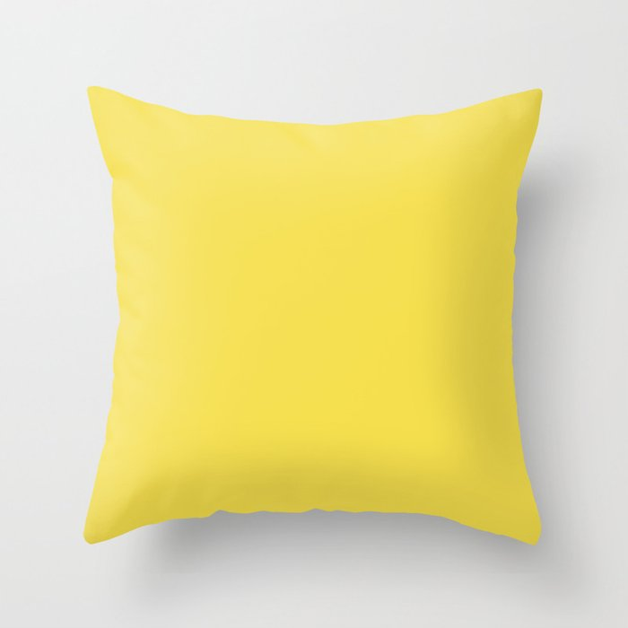Bright Tropical Mid-tone Yellow Solid Color Throw Pillow Pairs Pantone Illuminating Yellow 13-0647 Autumn/Winter Key Color - Shade - Hue - Colour