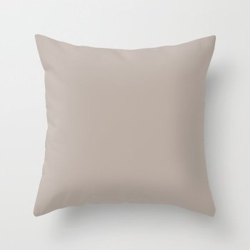 Urban Warm Taupe Solid Color Pairs Behr 2022 Trending Hue - Shade - Nightingale Gray N200-3 Throw Pillow