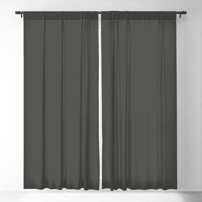 Dark Gray / Grey Solid Color 2022 Trending Hue Sherwin Williams Iron Ore SW 7069 Blackout Curtain