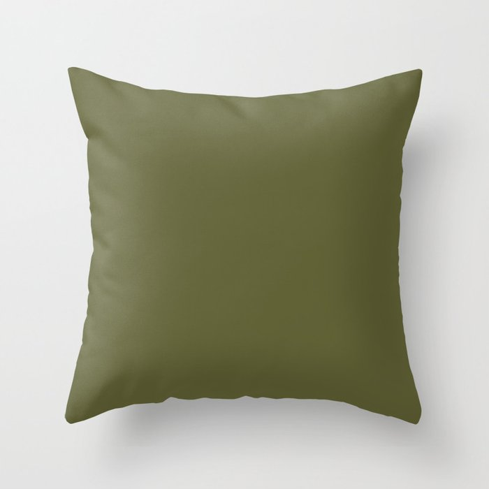 Dark Green Solid Color 2022 Trending Hue Sherwin Williams Basque Green SW 6426 Throw Pillow