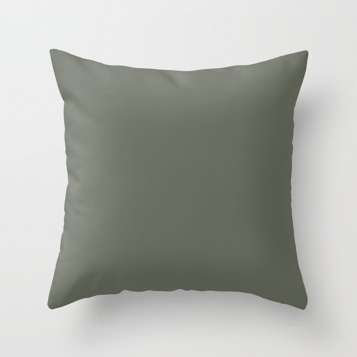 Forest Green Solid Color 2022 Trending Hue Sherwin Williams Rosemary SW 6187 Throw Pillow