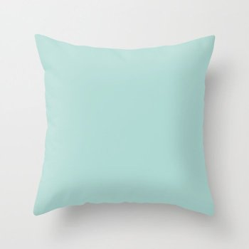 Oceanic Pastel Blue-Green Solid Color Pairs Behr 2022 Trending Hue - Shade - Wave Top M450-3 Throw Pillow