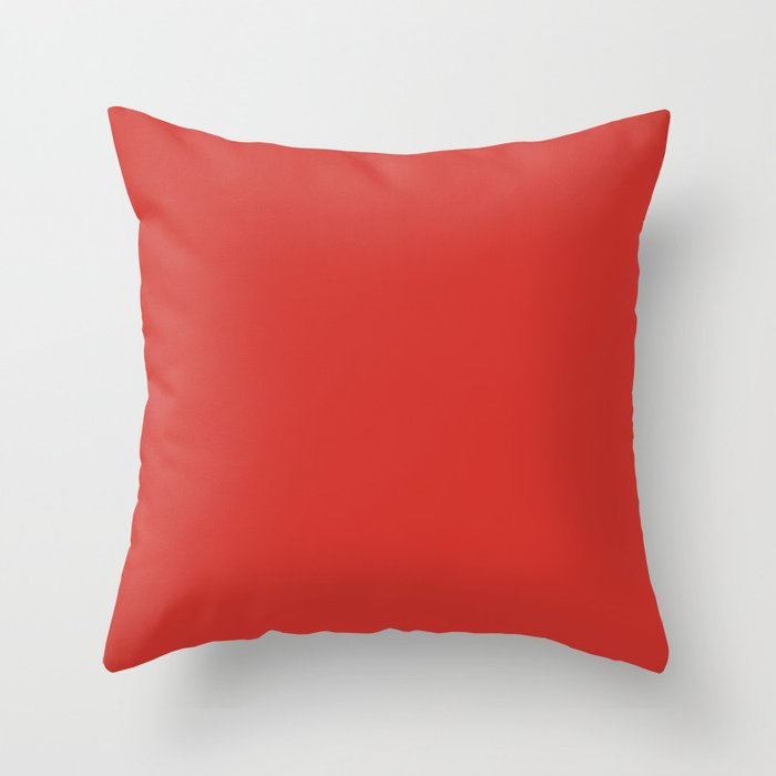 Vivid Red Red Solid Color Throw Pillow Pairs Pantone Alert 18-1559 2022 Autumn/Winter Key Color - Shade - Hue - Colour