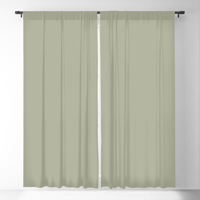 Soft Sage Green Solid Color Pairs w/ PPG Glidden 2022 Color of the Year Olive Sprig PPG1125-4 Blackout Curtain