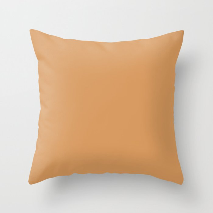Warm Brown Solid Color 2022 Trending Hue Sherwin Williams Bakelite Gold SW 6368 Throw Pillow