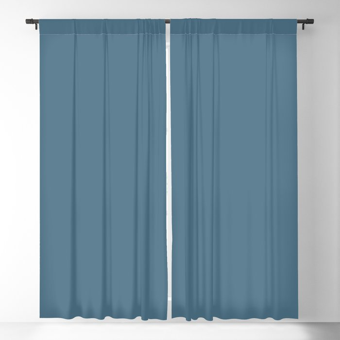 Medium Blue Solid Color 2022 Trending Hue Sherwin Williams Inky Blue SW 9149 Blackout Curtain