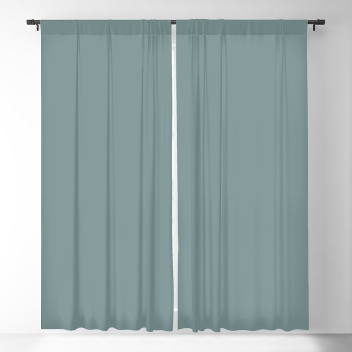 Mid Tone Aquamarine Blue Green Gray Solid Color Pairs Sherwin Williams Moody Blue SW 6221 Blackout Curtain