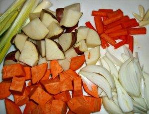 chopped veggies for roast