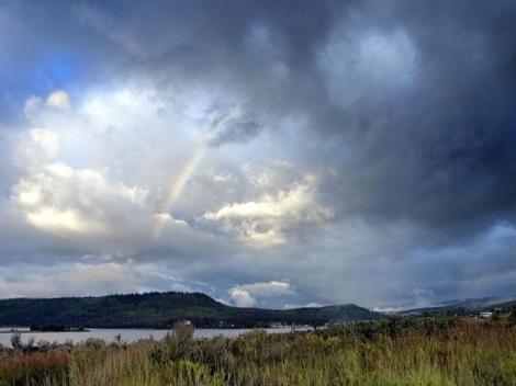 rainbow over lake granby