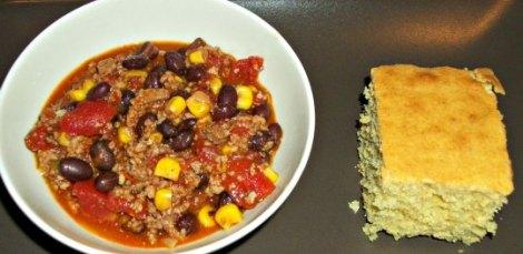 Turkey and Black Bean Chili and Southern Corn Bread