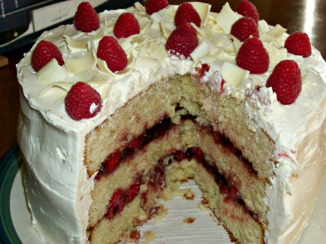 White Chocolate Cake Sliced