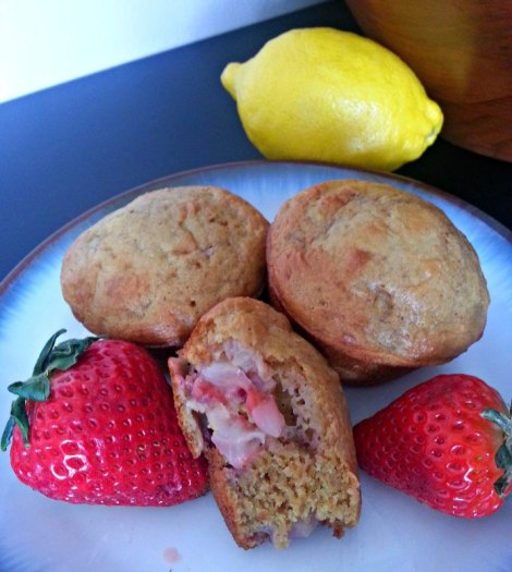 Strawberry Lemon Muffins Cut