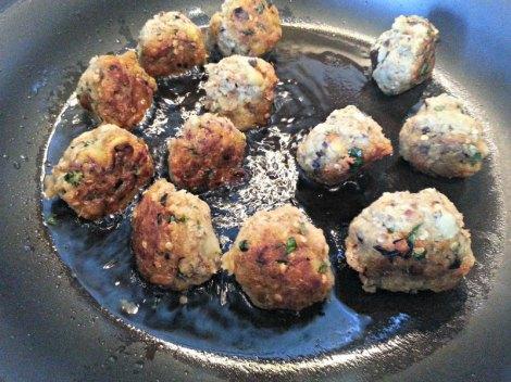 Frying the Eggplant Meatballs