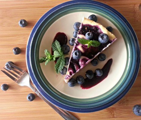 Top View Blueberry Goat Cheese Cheesecake