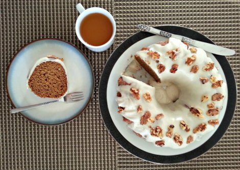 Slice Bourbon Pumpkin Gingerbread Bundt Cake