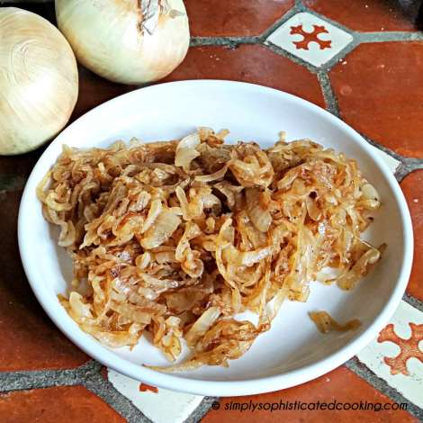Caramelized onions on counter