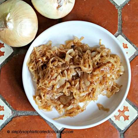 Overhead View of Caramelized Onions on a Plate